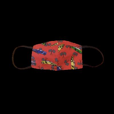 Gyerek méretű textil szájmaszk, maszk, piros versenyautós - ÚJ