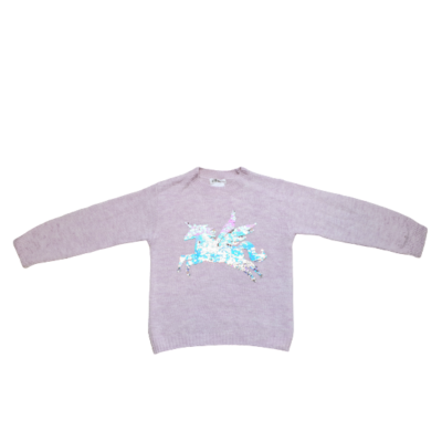 122-128-as lila kötött unikornisos átfordítós flitteres pulóver - H&M