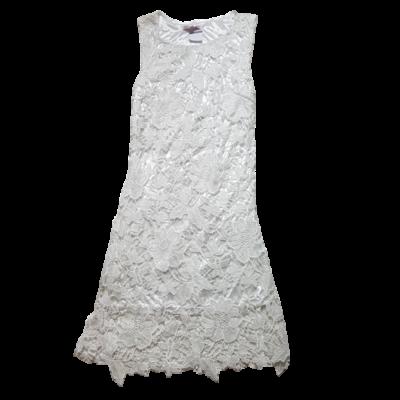 Női S-es fehér horgolt virágos alkalmi ruha