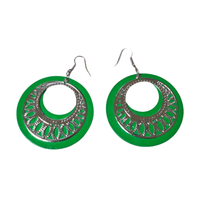 Zöld könnyű fa lapocska ezüst mintával, nagy karika fülbevaló - ÚJ