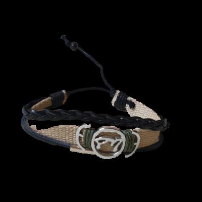 Drapp-fekete textil-bőr karkötő - ÚJ