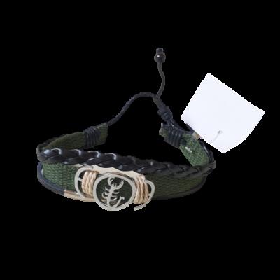 Khaki-fekete skorpiós textil-bőr karkötő - ÚJ