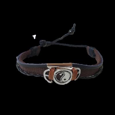 Barna textil-bőr karkötő ying-yang mintával - ÚJ