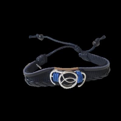 Kék-fekete halas textil-bőr karkötő - ÚJ