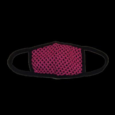 Fekete-pink horgolt mintájú vastagabb felnőtt szájmaszk, maszk - ÚJ