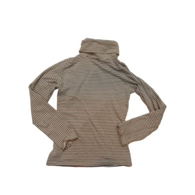 140-es barna-fehér csíkos garbónyakú lány pamutfelső - Okaidi