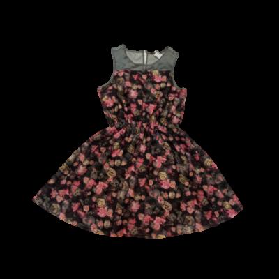 152-es fekete-rózsaszín virágos ujjatlan alkalmi ruha - George