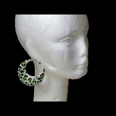 Zöld párducmintás nagy karika fülbevaló, könnyű fém - ÚJ
