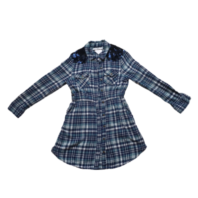 134-es zöld-kék kockás ingruha, tunika - Marks & Spencer