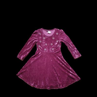 152-158-as rózsaszín virágos plüss ruha