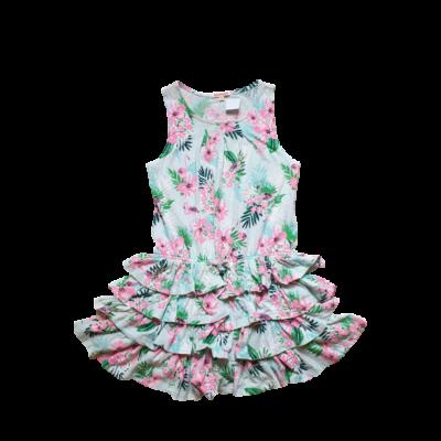 128-as zöld-pink flamingós ujjatlan ruha - Bluezoo