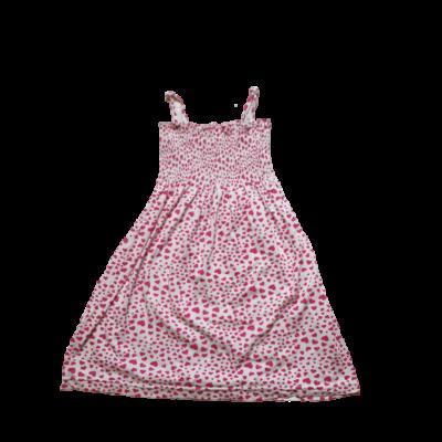 116-os fehér alapon rózsaszín szivecskés pántos ruha