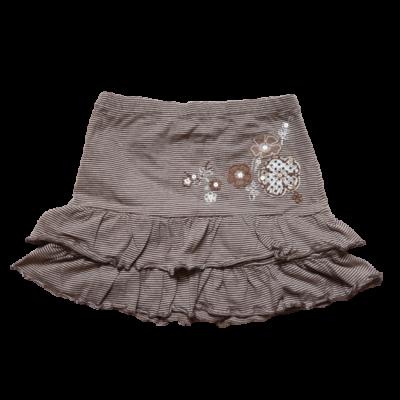 98-as barna-fehér csíkos fodros szoknya - Cichild