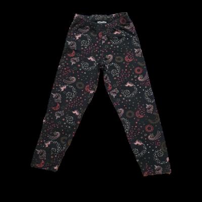 116-os fekete alapon rózsaszín unikornisos leggings
