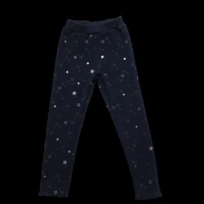 116-122-es sötétkék csillagos bélelt leggings