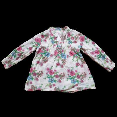 116-os fehér virágos hosszú ujjú blúz - Girl2Girl