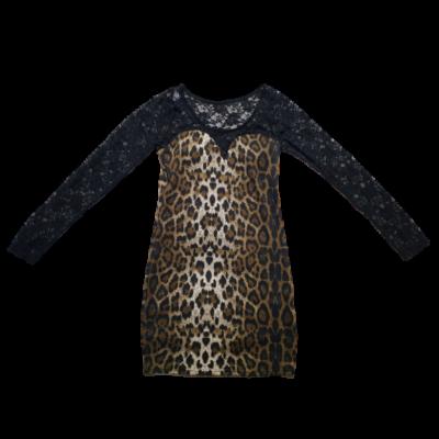 Női M-es fekete-barna leopárd mintás alkalmi ruha