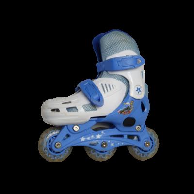 28-31-es kék-fehér állítható görkorcsolya, átszerelhető kerék-sorral