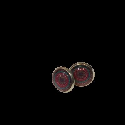 Mandalamintás kék-pink bedugós fülbevaló - ÚJ