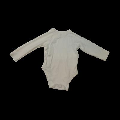 80-86-os fehér átlapolós hosszú ujjú body