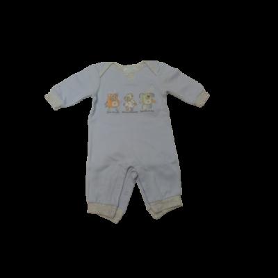 62-es kék állatos lábfej nélküli pamut rugi - Baby Blue