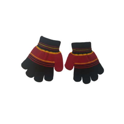 2-3 évesre piros-fekete kötött ötujjas kesztyű