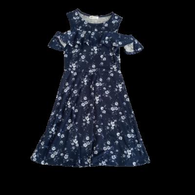 146-152-es kék virágos nyitott vállú ruha - H&M