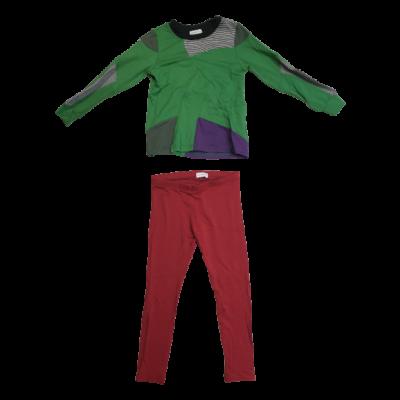 98-104-es zöld-bordó pizsama - Magenta