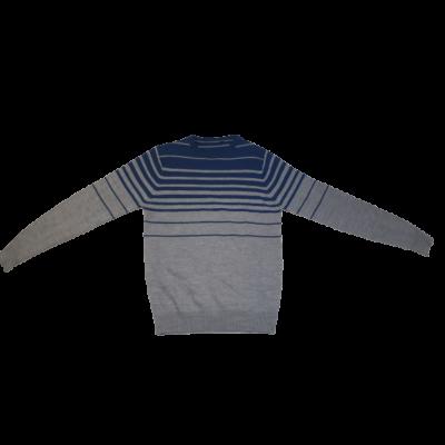 158-164-es szürke-kék csíkos kötött pulóver