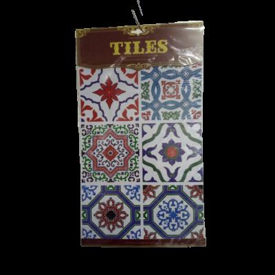 Kék-piros marokkói mintás csempe matrica - ÚJ