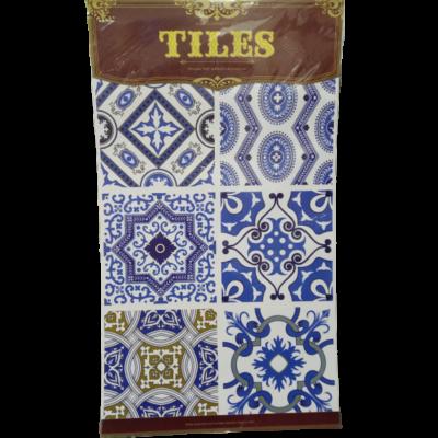 Kék-arany marokkói mintás csempe matrica - ÚJ