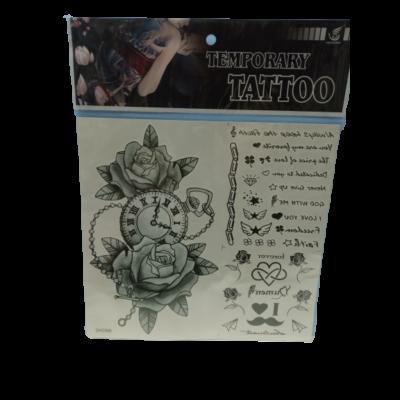 Szürke órás-rózsás ideiglenes tetoválás - Temporary Tattoo - ÚJ