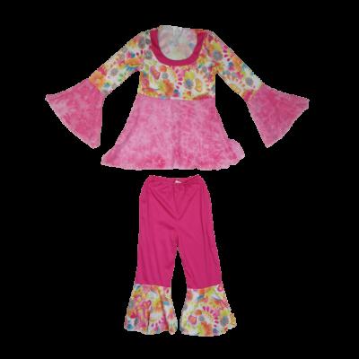 7-9 évesre rózsaszín virágos 2 részes jelmez - Hippi