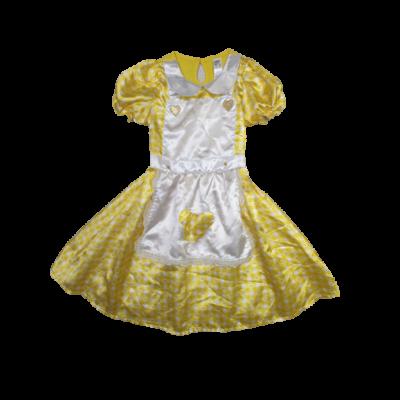 7-8 évesre sárga-fehér szívecskés jemez ruha