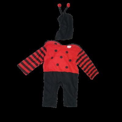 86-92-es piros-fekete pöttyös kezeslábas, szárnnyal - katica jelmez