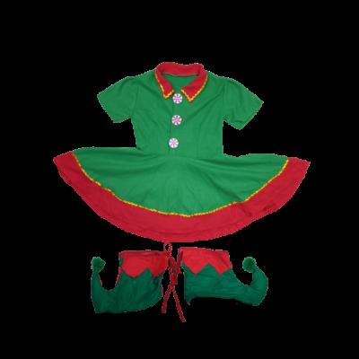 6-7 évesre piros-zöld 2 részes jelmezruha, manó