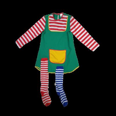 140-es zöld-piros csíkos felső, zoknival - Harisnyás Pipi