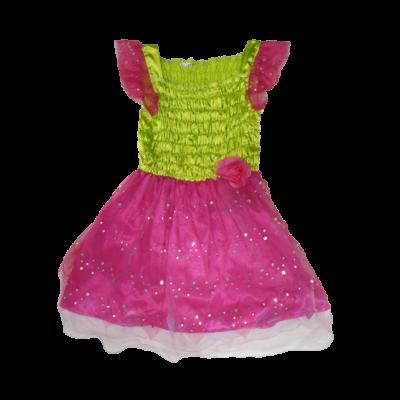 6-7 évesre rózsaszín-zöld tüllös jelmezruha