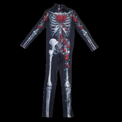 11-12 évesre fekete csontvázas rózsás kezeslábas - Halloween