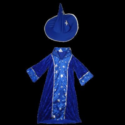 116-os kék csillagos varázslóruha, kalappal