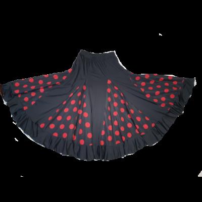 Nagylány vagy felnőtt fekete alapon piros pöttyös szoknya, jelmez