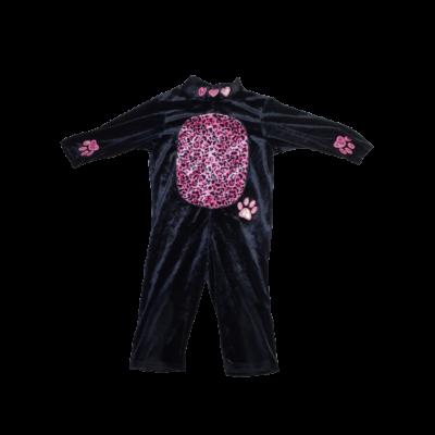86-92-es fekete-pink mintás plüss kezeslábas jelmez, cica