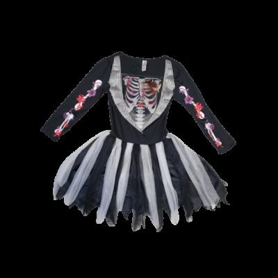 9-10 évesre fekete-fehér csontvázas virágos ruha - Halloween - TU