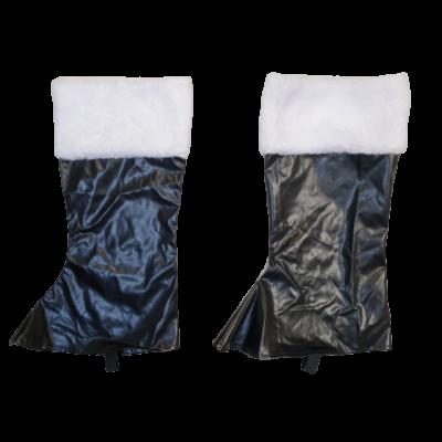 Fekete bőrhatású csizmafelső, jelmezkiegészítő
