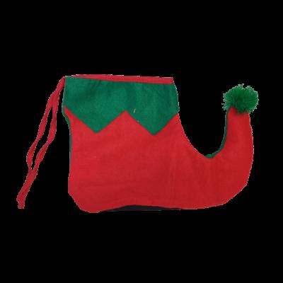 Piros-zöld filc manócipő félpár