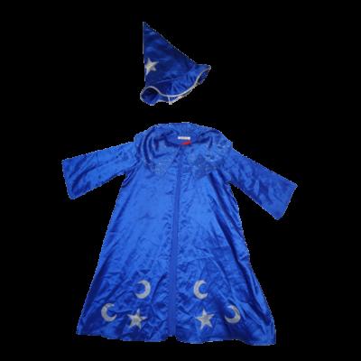 7-8 évesre kék varázslóköpeny, kalappal