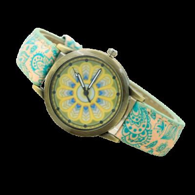 Mandalás analóg óra, zöld - ÚJ