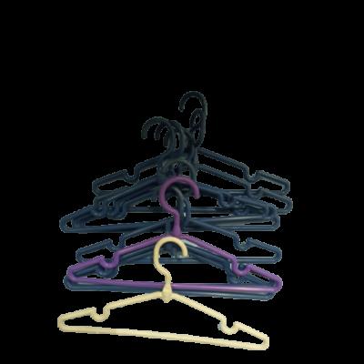 10 db vegyes színű műanyag gyerek vállfa