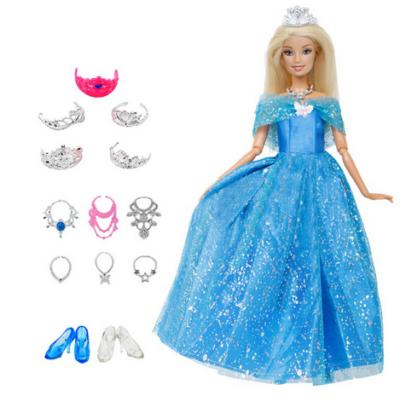 Kék hercegnő ruha, Barbie ruha készet, 14 részes - Hamupipőke - ÚJ