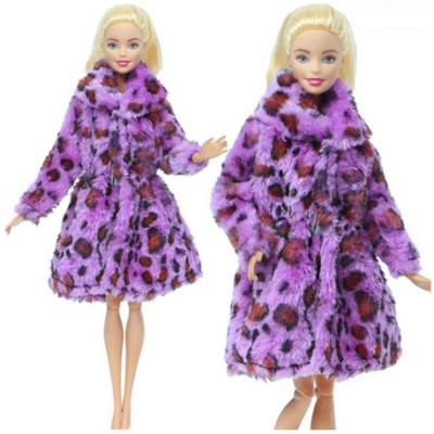 Barbie babára bunda, lila leopárdmintás - ÚJ